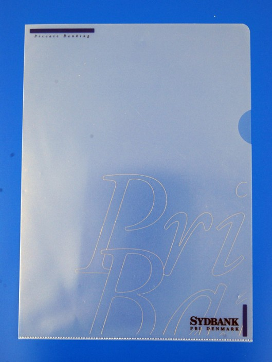 A4 charteque PP med serigrafitryk i tre farver